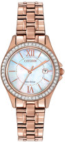 Citizen 21mm Rose Golden Bracelet Watch w/ Crystal Bezel & Iridescent Dial