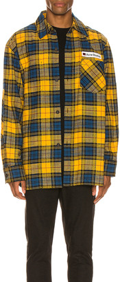 Acne Studios Flannel Overshirt in Yellow & Black | FWRD