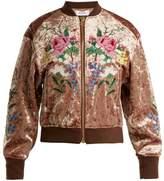 Muveil Floral cross-stitch velvet bomber jacket