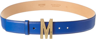 Moschino Logo Buckle Leather Belt