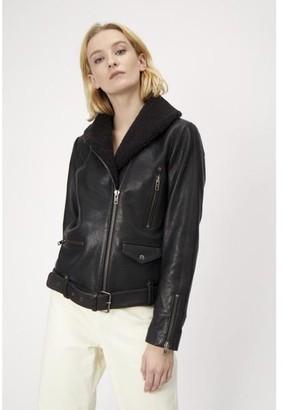 Just Female Billy Black Leather Aviator Jacket - L