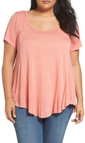 Sejour Scoop Neck High/Low Tee (Plus Size)