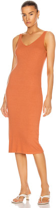 Enza Costa Luxe Rib V-Neck Midi Dress in Bisque | FWRD