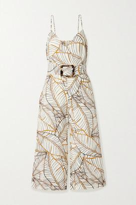 Nicholas Seta Belted Printed Linen Jumpsuit - White