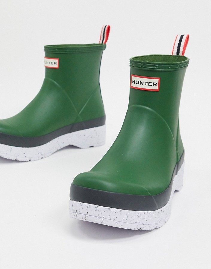 Hunter play short speckle wellington boots in green