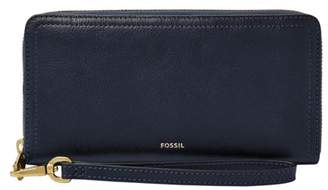 Fossil Logan Rfid Zip Around Clutch Wallet Black