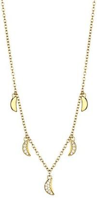 Celara 14K Yellow Gold Diamond Crescent Moon Charm Necklace