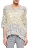 Lafayette 148 New York Colorblock Eyelet-Stitch Sweater