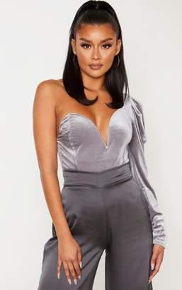 PrettyLittleThing Grey Velvet One Shoulder V Wire Bodysuit