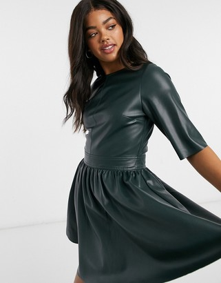 ASOS DESIGN leather look t-shirt mini skater dress in forest green