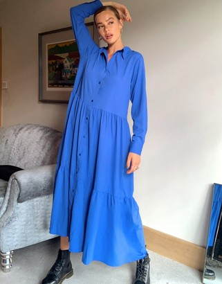 Monki Collina trapeze shirt dress in cobalt blue