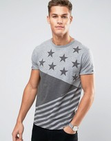 Tommy Hilfiger T-Shirt Stars and Stripes Print in Gray Marl