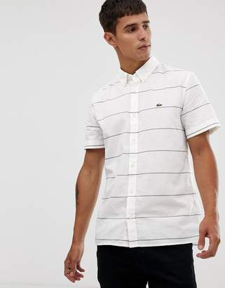 Lacoste short sleeve stripe oxford shirt in white