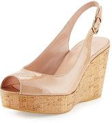 Stuart Weitzman Jean Patent Peep-Toe Wedge Sandal, Beige