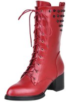 Guoar Women's Low Mid Block Heel Bootie Big Size Pointed Toe Toe Rivet Lace-Up Ankle Boots for Wedding Party Dress Red US 15