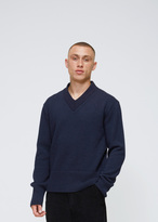 Our Legacy Navy Compact Wool V-neck Pullover