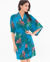 Soma Intimates Chiffon Short Sleeve Robe Glamour Foliage Blue Sea