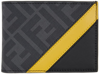 Fendi Black and Yellow Forever Bifold Wallet