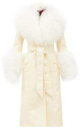 Françoise Francoise - Shearling-trim Faux-leather Coat - Pale Yellow