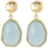Rivka Friedman 18K Gold Clad Deco Shape Faceted Caribbean Blue Quartzite Dangle Earrings