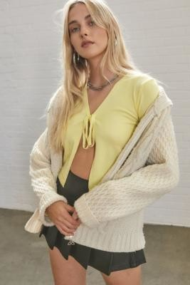 Daisy Street Tie-Front Cardigan - Yellow XS at Urban Outfitters