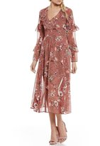WAYF Olivia Tiered Ruffle Sleeve Floral Midi Dress