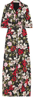 Erdem Floral-print Silk-satin Maxi Shirt Dress