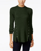 Style&Co. Style & Co. Petite Mock-Neck Lace-Up Sweater, Only at Macy's