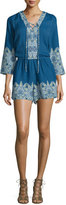 Ella Moss Caprice 3/4-Sleeve Embroidered Romper, Ink