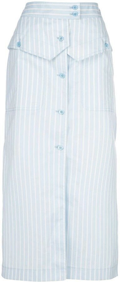 Sies Marjan Jacquetta striped button-front midi skirt