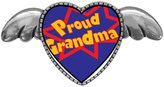 GiftJewelryShop Ancient Style Silver Plate Proud Grandma Heart With Simple Angel Wings Pins Brooch