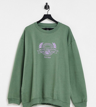 Daisy Street Plus oversized sweatshirt with vintage meadows print