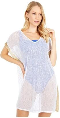Lilly Pulitzer Ellio Cover-Up (Resort White Metallic Wave Foil Print) Women's Swimwear