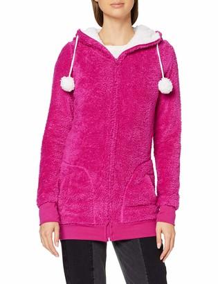 Urban Classics Women's Ladies Long Teddy Zip Hoody Hooded Sweatshirt