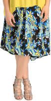 Retro Print High Low Soft Skirt