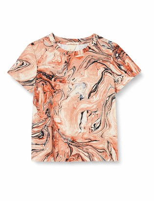 Scotch & Soda Girl's Short Sleeve Tee with Marble Allover Print and Chest Artwork Shirt