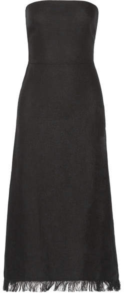 Theory Phyly Strapless Fringed Linen Midi Dress - Black