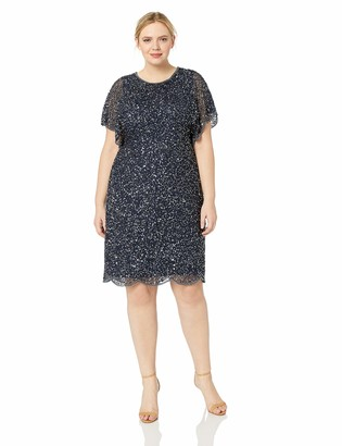 Adrianna Papell Women's Plus Size Fully Beaded Cocktail Dress with Flutter Sleeves
