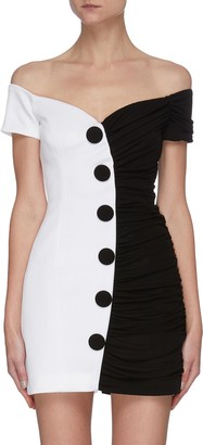 Balmain Duo-tone Off-shoulder Mini Dress