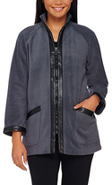 Bob Mackie Charcoal & Black Faux Leather Trim Fleece Jacket - Plus Too