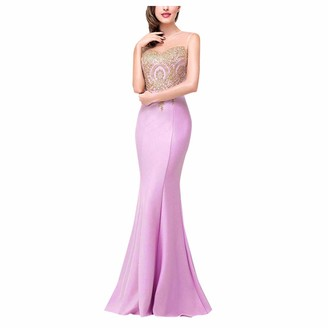 KPILP Bridesmaid Maxi Dress Gold Thread Embroidery Elegant Noble Evening Party Prom Ball Gown for Womens Mermaid Beaded Vintage Style Long Dress(Wine L)