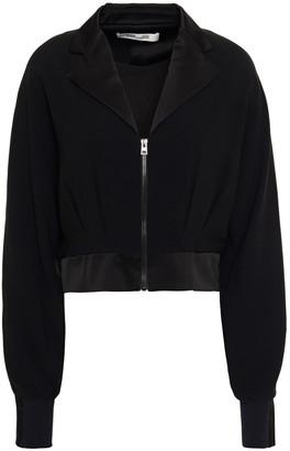 Diane von Furstenberg Cropped Satin-trimmed Stretch-jersey Jacket