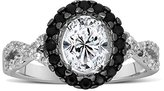 JeenJewels Unique 1 Carat Black and White Oval Diamond Halo Engagement Ring for Her
