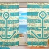 JSTEL Bedroom Decor Living Room Decorations Anchor Pattern Print Tulle Polyester Door Window Gauze / Sheer Curtain Drape Two Panels Set ,Set of 2