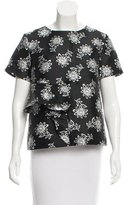 Suno Ruffle-Trimmed Floral Print Top
