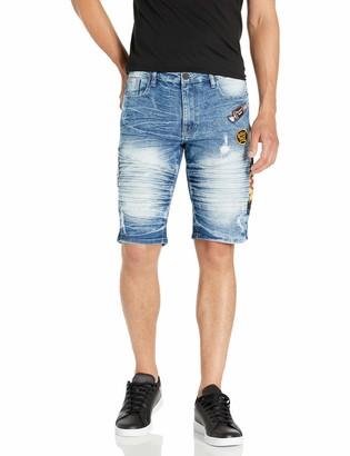 Southpole Men's Tootsie Multiple Patches Denim Shorts