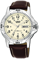 Lorus Rxn49bx9 Sports Day Date Leather Strap Watch, Brown/cream
