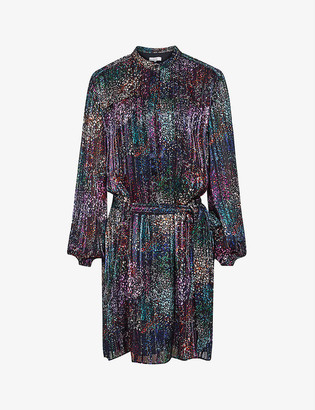 Reiss Isla metallic crepe dress