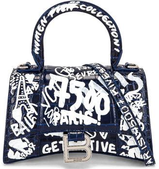 Balenciaga XS Hourglass Top Handle Bag in Navy & White | FWRD