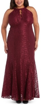 Night Way Nightway Plus Size Lace Scalloped-Keyhole Gown